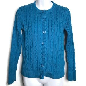 LL Bean Chunky Knit Cardigan Sweater Blue